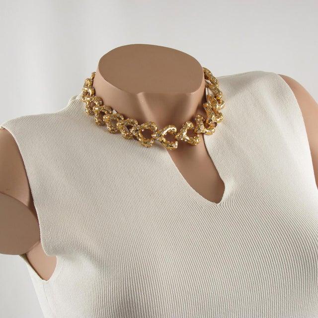 Lovely French designer Alexis Lahellec Paris signed choker necklace. Elegant freeform heart shape, gilt metal all textured...
