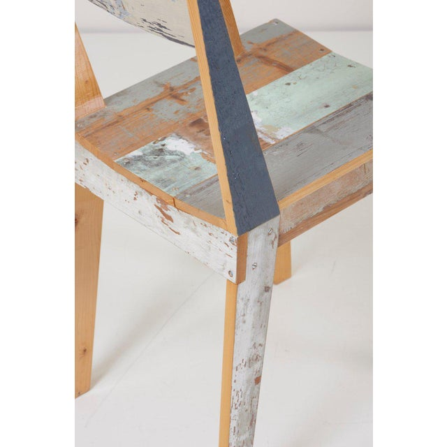 Turquoise Set of Four Lacquered Oak Chairs in Scrapwood by Piet Hein Eek For Sale - Image 8 of 13