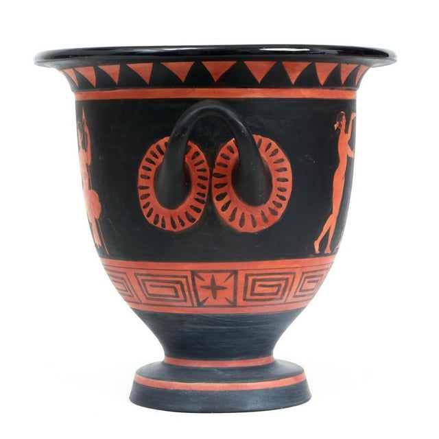 Ancient Greek urn, black and orange polychrome decoration with two handles, 19th century copy, measuring 10 by 10.5...