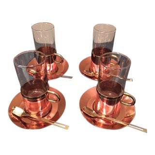 "1970's ""Cobras by Beucler"" Copper, Brass & Glass Hot Beverage Serving Set -12 Pc."