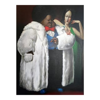 Leandro Velasco, Man in Fur Coat with Lady in Green, 1977 For Sale