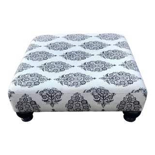 Vintage Mid Century Boho Chic Paisley Print Linen Ottoman For Sale