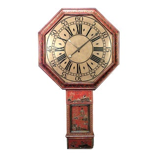 English Regency Red Lacquer Wall Clock For Sale
