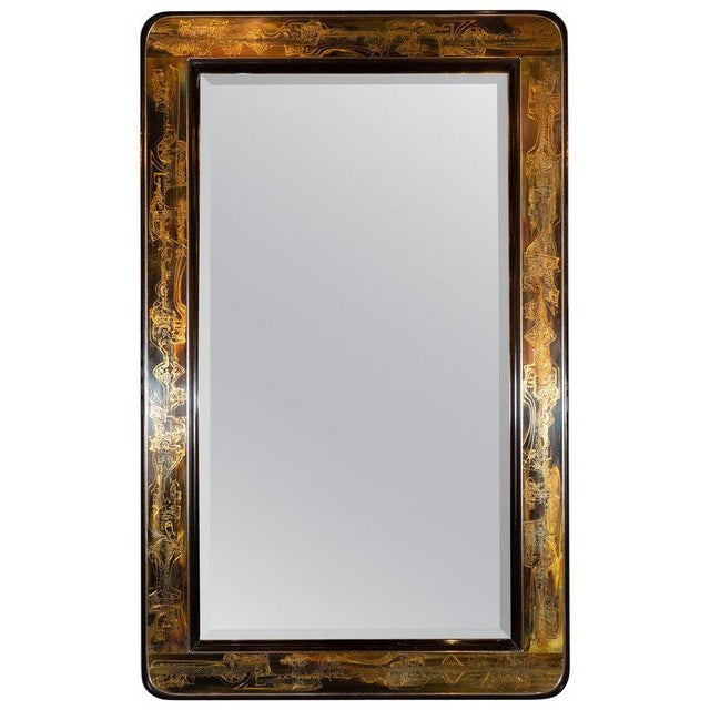 Mid-Century Modern Acid Etched Brass Mirror by Bernard Rohne for Mastercraft For Sale In New York - Image 6 of 6