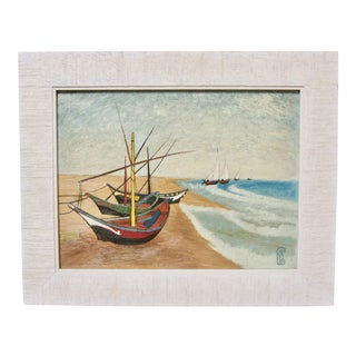 Vintage Mid-Century Fishing Boats Shorline Seascape After Vincent Van Gogh Painting For Sale
