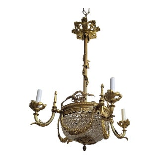 C. 1910 French Empire Gilt Bronze and Crystal Beaded 4 Light Chandelier For Sale