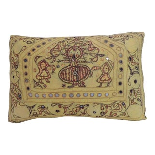 "19th Century ""Ganeshtapana"" Kanbi Indian Embroidery Lumbar Decorative Pillow"