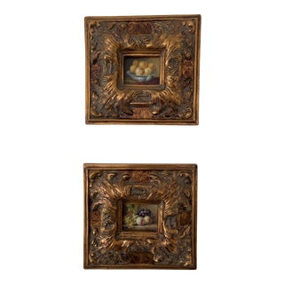 Still Life Framed Oil on Canvas Paintings - Set of 2 For Sale