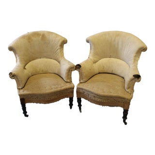 Napoleon III Upholstered Arm Chairs, a Pair