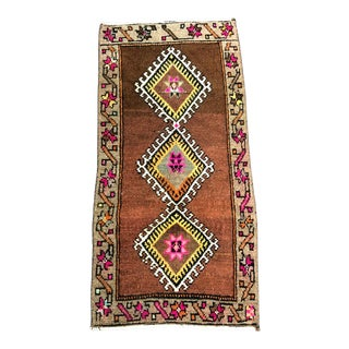 Geometric Design Turkish Antique Small Rug 1′6″ × 2′11″ For Sale
