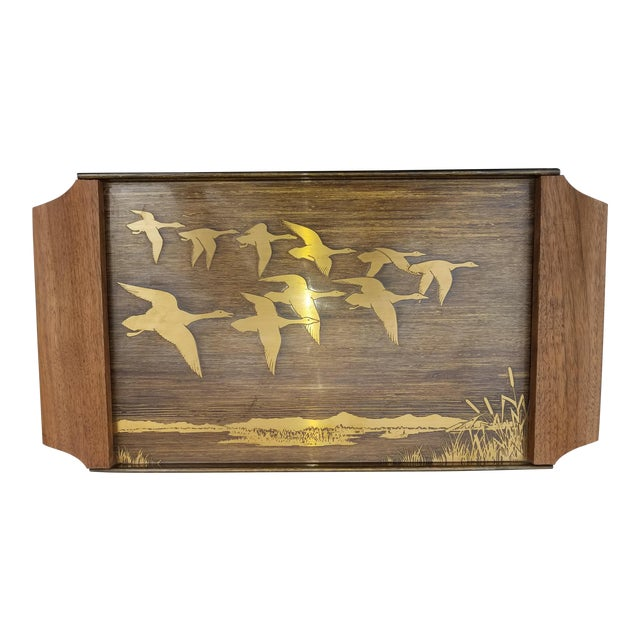 Vintage Mid-Century Brass Etched Tray With Flying Ducks and Walnut Wood Handles For Sale