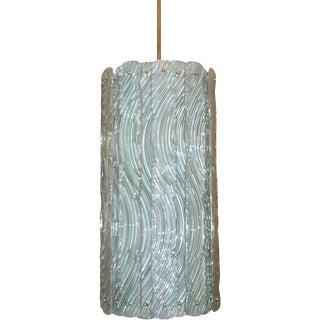Modern Italian Aquamarine Crystal Murano Glass Tall Brass Lantern / Chandelier For Sale
