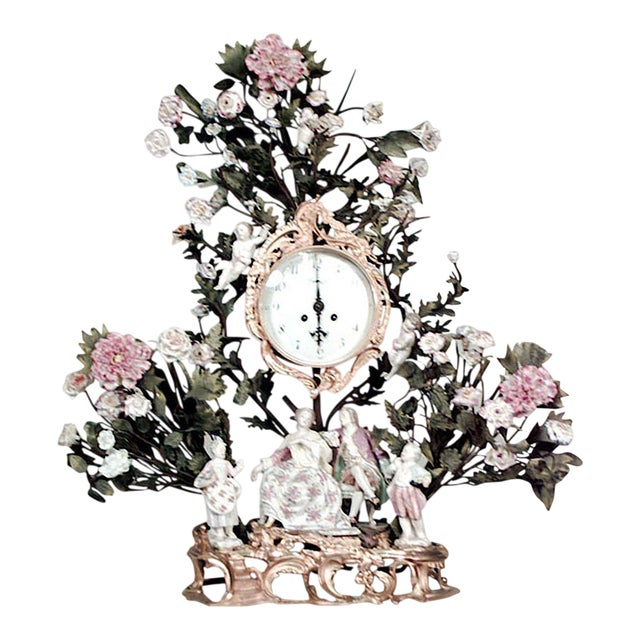 French Louis XV Style '19th Century' Porcelain Floral Decorated Mantel Clock For Sale