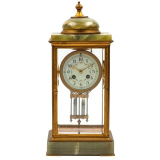 19th Century Antique French Onyx Clock For Sale