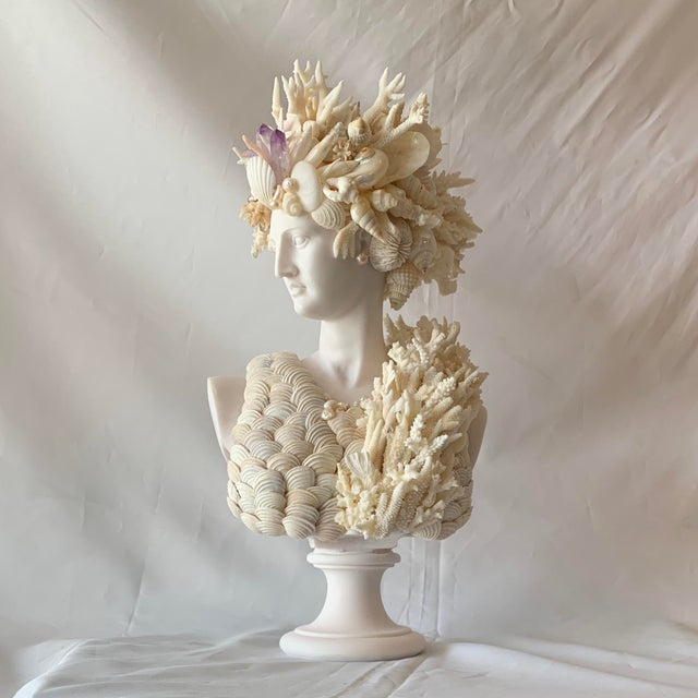 White Cast Marble Shell Diana Bust Sculpture For Sale - Image 8 of 13