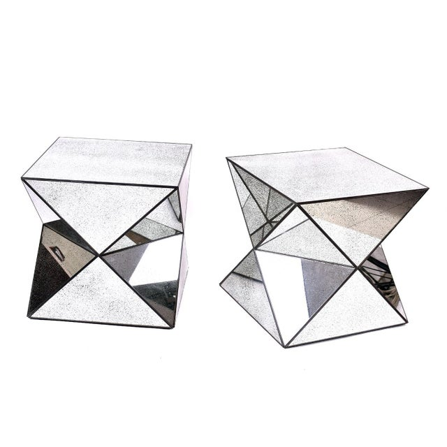 Antiqued Mirror Accent Tables - A Pair - Image 3 of 3