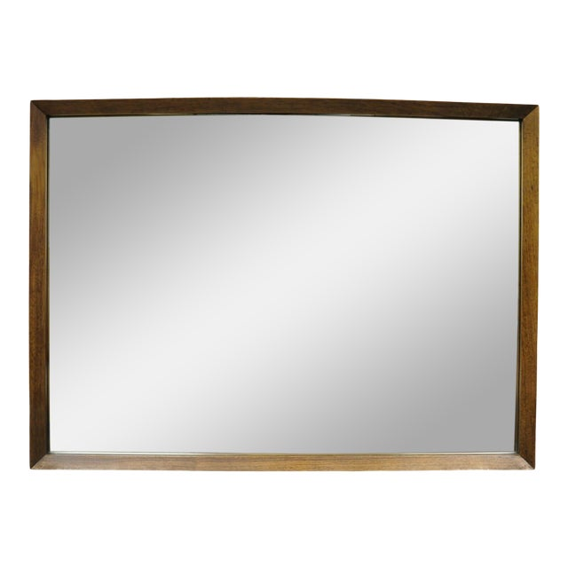 Vintage Mid Century Modernist Walnut Rectangular Wall Dresser Deep Frame Mirror For Sale