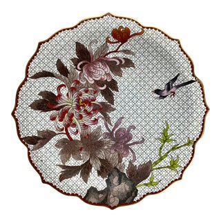 Chinese Cloisonne Floriform Chrysanthemum and Bird Plate For Sale