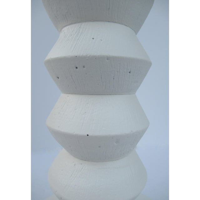 1970s Mid-Century Plaster Zig-Zag Tiered Lamp For Sale - Image 5 of 13