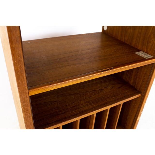 Mid Century Teak Tambour Door Upright Storage Credenza For Sale - Image 9 of 13