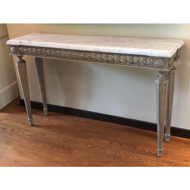 Neoclassical Paint Decorated Marble Top Console Table For Sale - Image 4 of 5