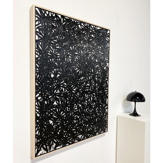 "John O'Hara Exclusive John O'Hara ""Daisies, Black"" Encaustic Painting For Sale - Image 4 of 7"