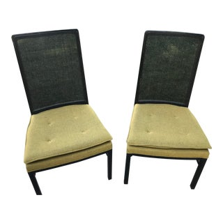 Mid Century Modern Ebonized Wood and Cane Back Dining Chairs- a Pair For Sale