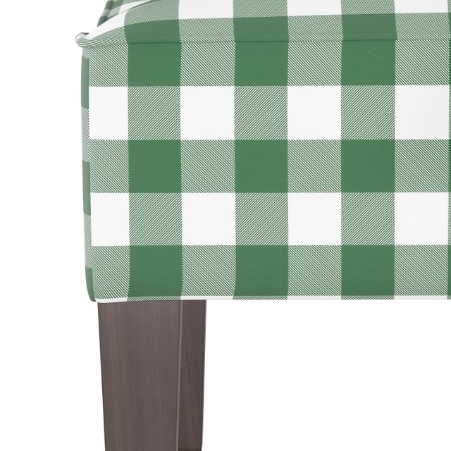Spritely Home Swoop Arm Chair in Classic Gingham Evergreen Oga For Sale - Image 4 of 7