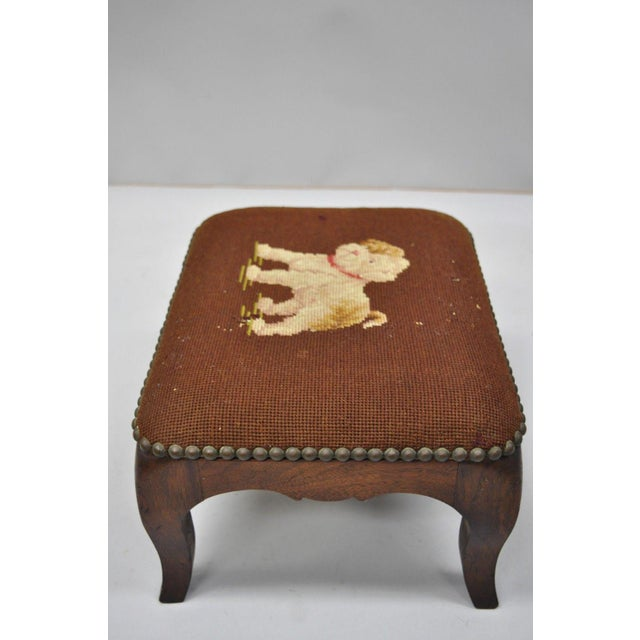 Antique Victorian Small Puppy Dog Needlepoint Petite Stool For Sale In Philadelphia - Image 6 of 10