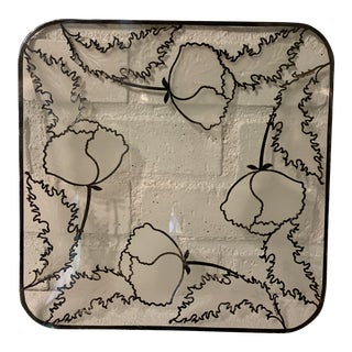 1960s Mid-Century Modern Glass and Silver Platter For Sale