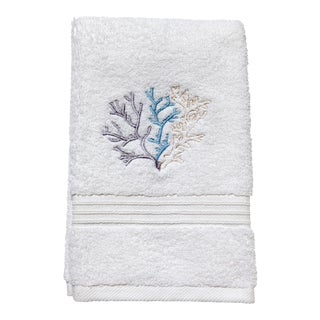 Blue Coral Guest Towelin White Terry, Embroidered For Sale