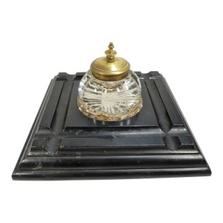 Antique Glass & Brass Inkwell on Ebonized Wood Stand For Sale