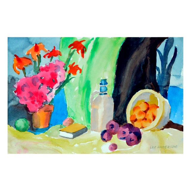 Fruit and jug still life by Les Anderson (American, b. 1928, d. 2009) with coastal watercolor on verso. From the estate of...