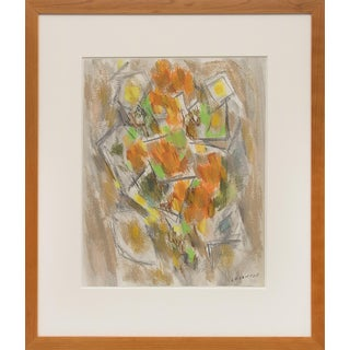 "Mid-Century Modern 1950s Pastel Painting ""Floral (Abstract Still Life) by New Mexico Modernist Ward Lockwood (1894-1963) For Sale"