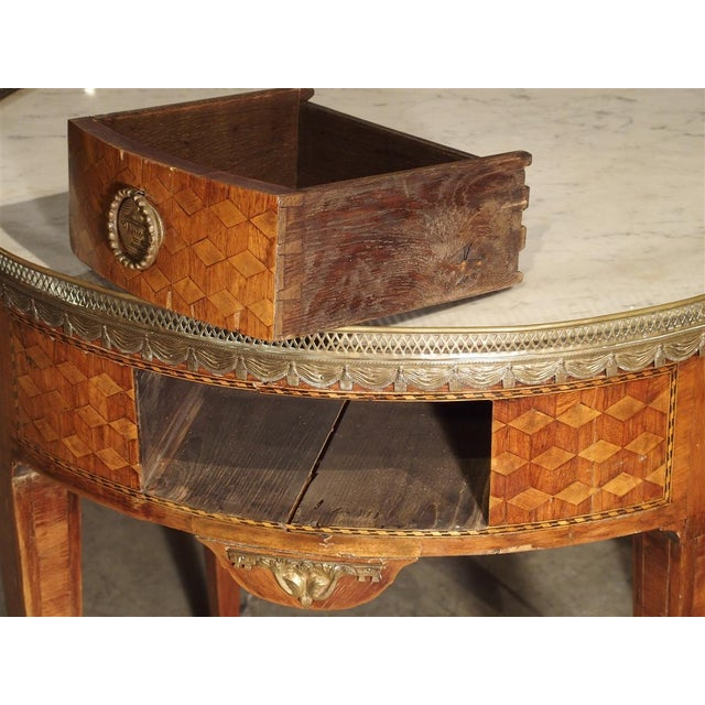 19th Century French 4-Drawer Marble Top Bouillote Table For Sale - Image 9 of 13