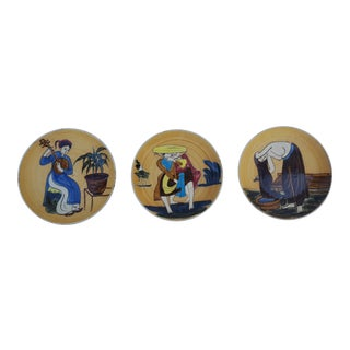 Vintage Art Hand Painted Wall Art Plates - Set Of 3