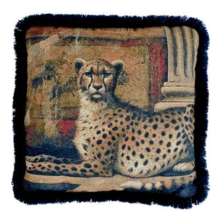 Vintage Cheetah Cat Safari Style Pillow For Sale