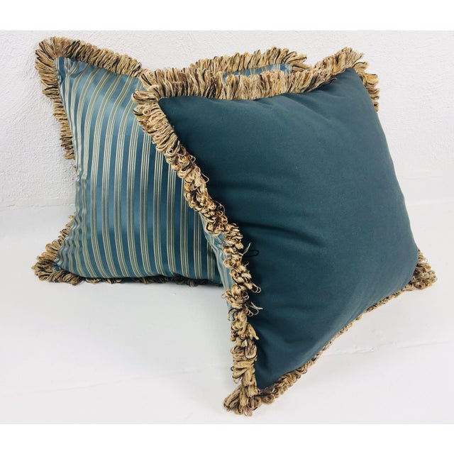 Coraggio Teal & Silver Stripe Pillows- a Pair For Sale - Image 4 of 5