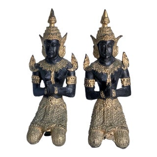 Early 20th Century Antique Bronze Black & Gold Gilt Kneeling Teppanom Angel Statuettes - a Pair For Sale