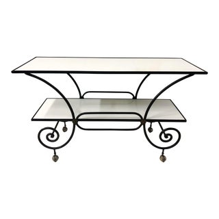 Milk Glass & Iron Baker's Style Console Table For Sale