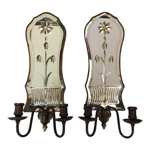 Cut Glass Mirrored Sconces - A Pair - Image 1 of 9