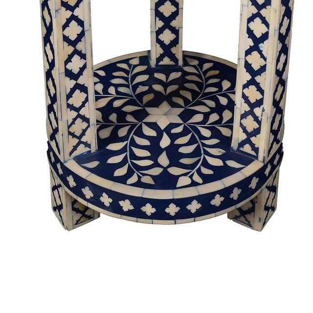 Contemporary Imperial Beauty Double Shelf Round Table in Indigo/White For Sale - Image 3 of 4