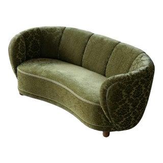 1940s Danish Banana Shaped Curved Sofa in Original Green Velvet For Sale
