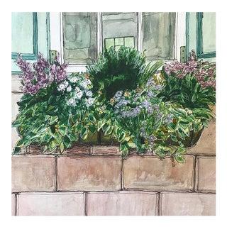 "Original ""Window Box"" Watercolor Illustration For Sale"