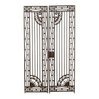 Early 20th Century French Art Deco Wrought Iron Gates-a Pair For Sale