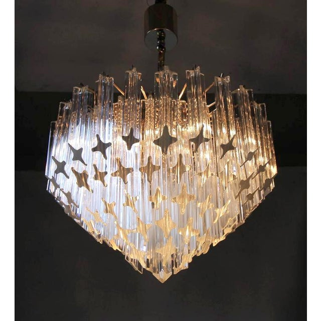1970s Italian Quatro Punta Crystal Prism Chandelier For Sale In Palm Springs - Image 6 of 10
