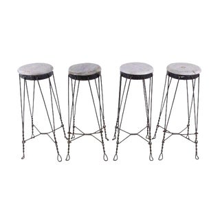 Vintage French Parlor Stools -- Set of 4 For Sale