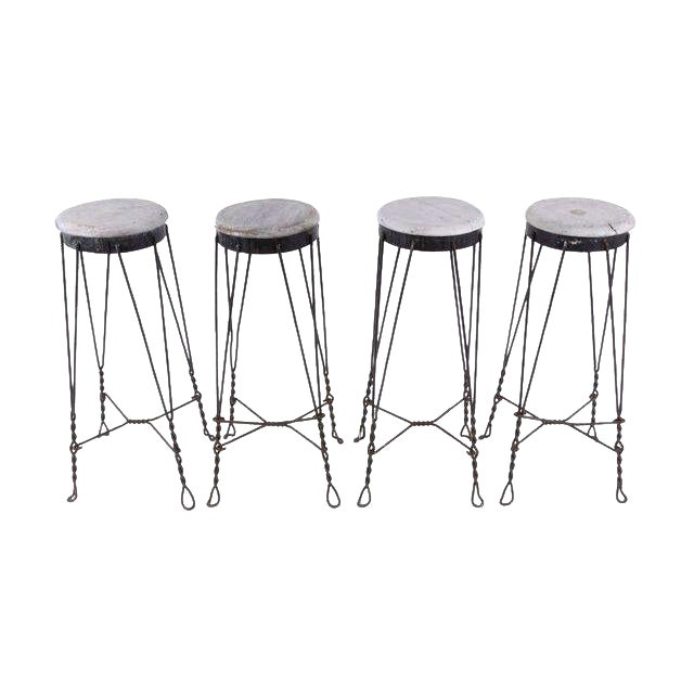 Vintage French Parlor Stools -- Set of 4 - Image 1 of 5