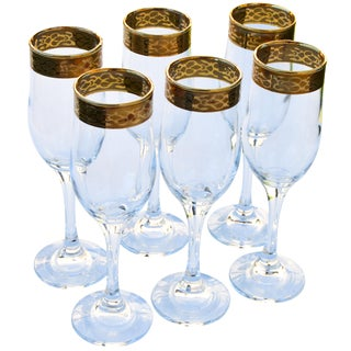 Gold-Rimmed Champagne Glasses, S/6 For Sale