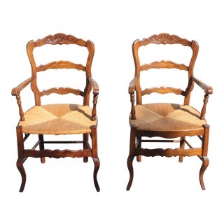 Early 20th Century French Country Rush Seat Solid Walnut Berger Chairs- A Pair For Sale